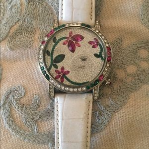 Juicy Couture jeweled watch, white band